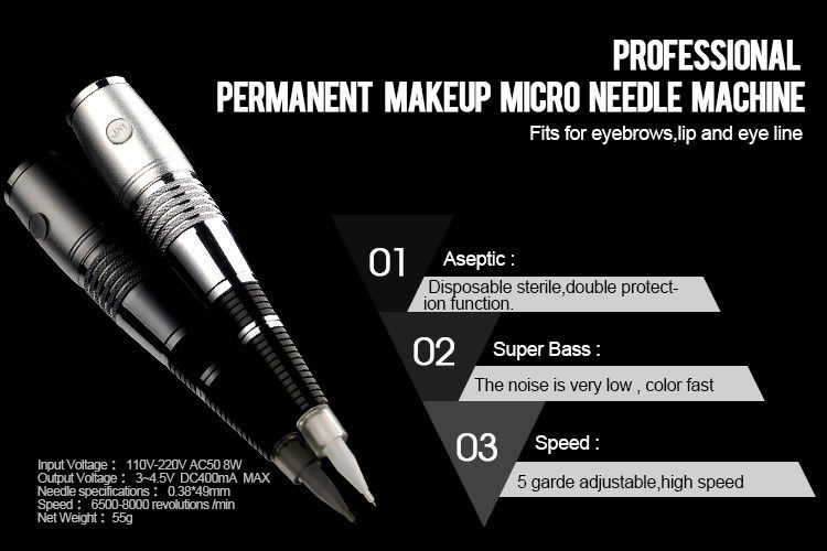Adjustable permanent makeup machine kit with 5 grade for How much does a tattoo gun cost