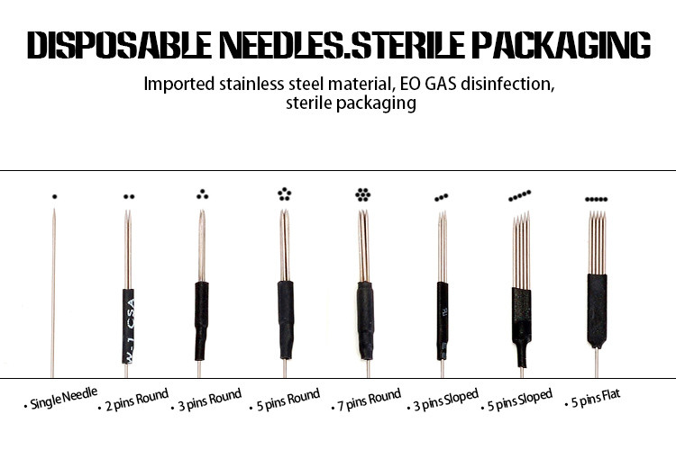 Mm 3 pins sloped disposable tattoo needles eo gas for Proper needle depth tattoos
