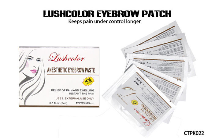 12 Pcs Lushcolor Eyebrow Patch Tattoo Numb Cream For