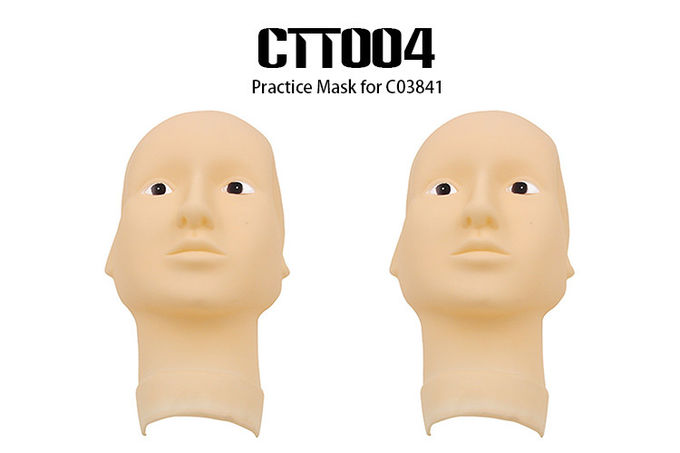 OEM / ODM Skin color 3D Rubber Permanent Makeup Practice Head Mask With Open Eyes